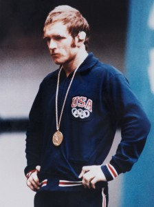 Iconic photo of a battered but victorious Dan Gable after winning the gold medal in wrestling at the 1972 Olympics in Munich, Germany.